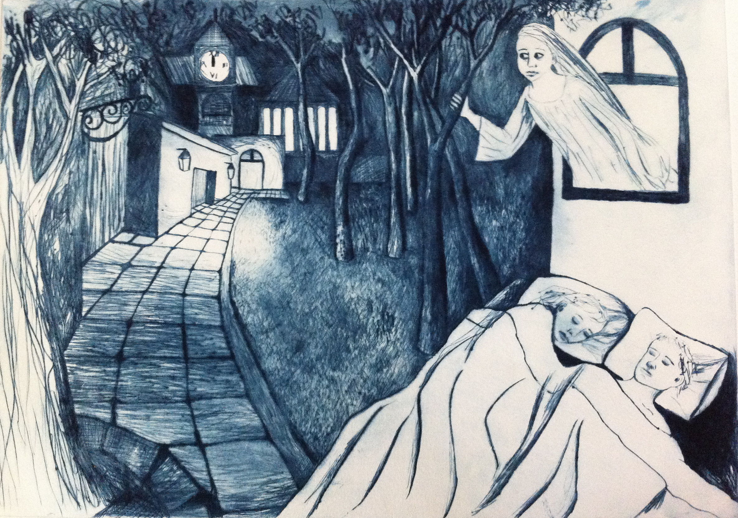 DrypointThe Chimes at Midnight by Shana James from the Conversations with Ghosts Series $360 unframed