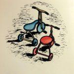 Hand Coloured Linocut Brian's Trikes by Shana James 26cm x 26cm $210 unframed