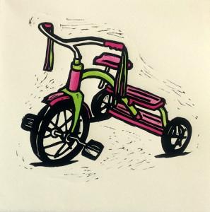 Hand Coloured Linocut Bright Trike by Shana James 26cm x 26cm $210 unframed