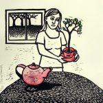 Linocut Cup of Tree by Shana James 26cm x 26cm $210 unframed