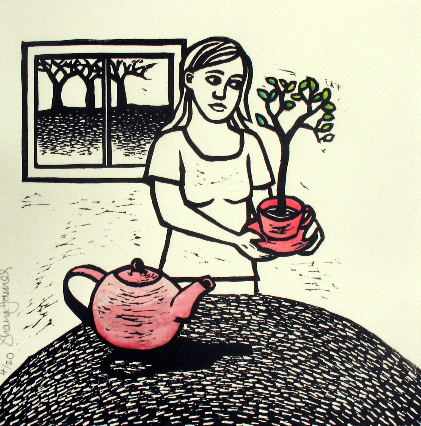 Linocut Cup of Tree by Shana James 26cm x 26cm $210 unframed