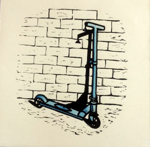 Hand Coloured Linocut Scooter by Shana James 26cm x 26cm $210 unframed