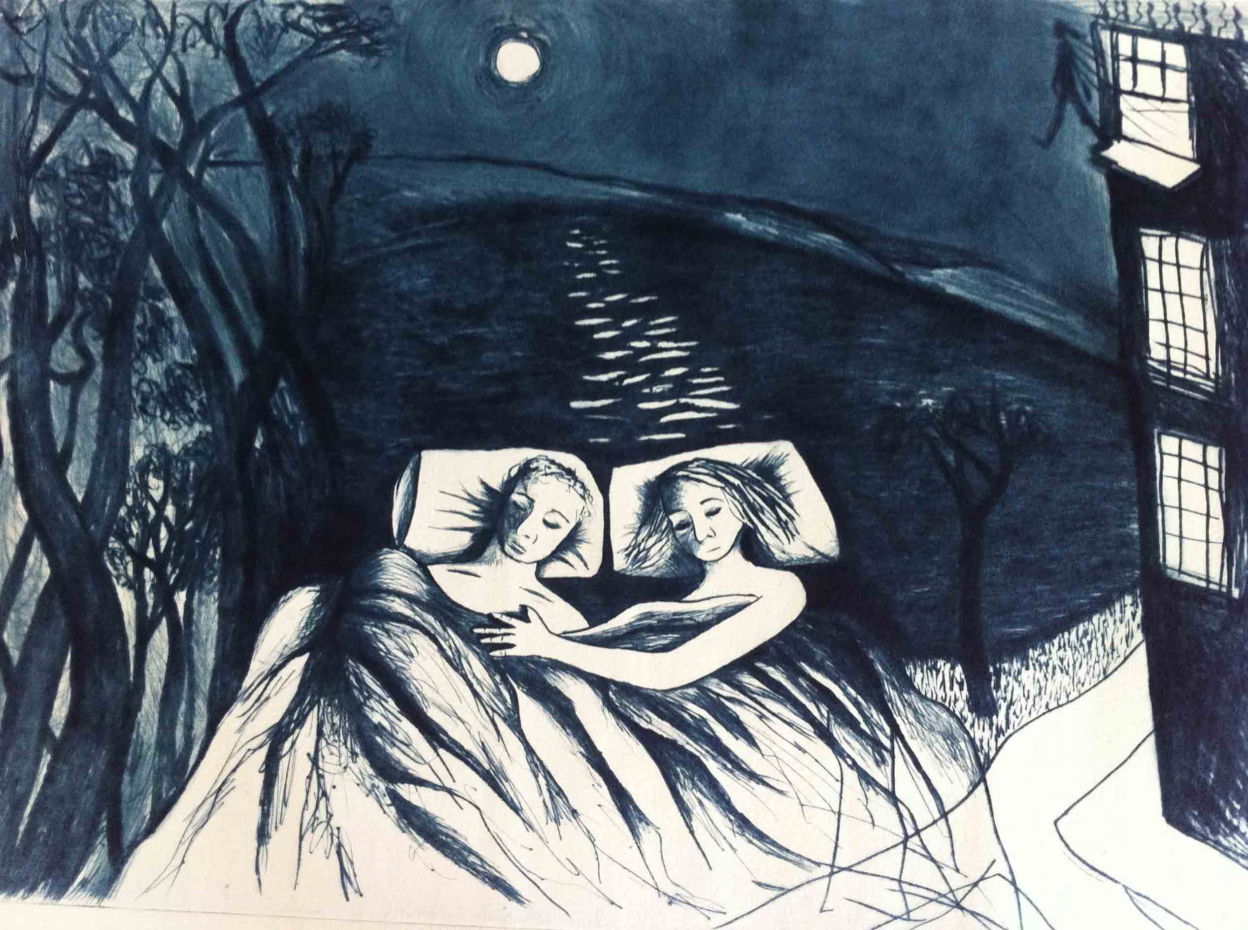 Stepping onto the Air, Drypoint Print by Shana James from the conversations with Ghosts Series 42cm x 30cm $360 unframed