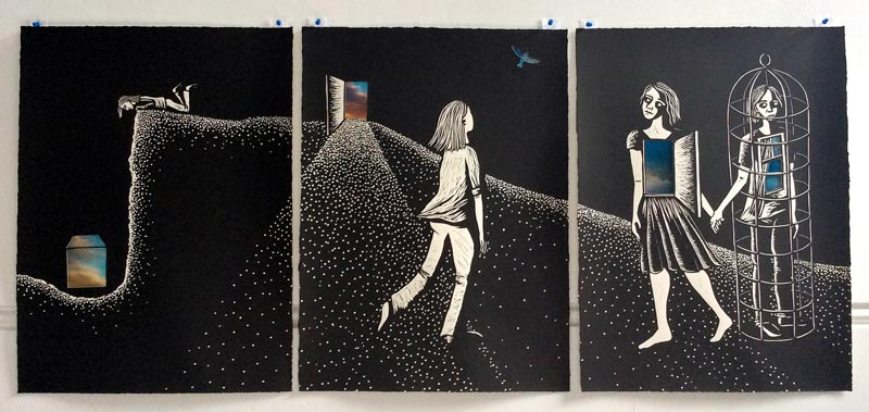 Night Vision Linocut Triptych by Shana James