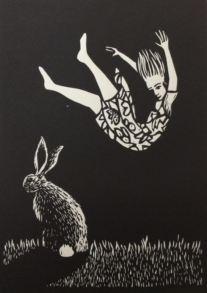 Let Go - linocut by Shana James