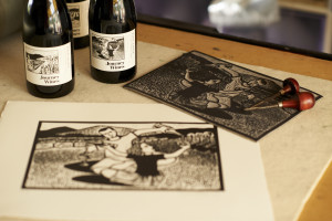 Linocuts by Shana James for Journey Wines Labels