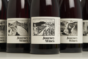 Journey Wines with labels from linocuts by Shana James