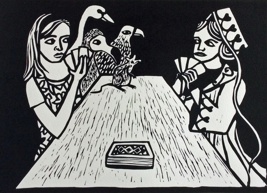 Linocut by Shana James, Alice Winning Against Judgement