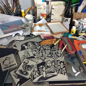 Messy Desk, the newly carved lino blocks