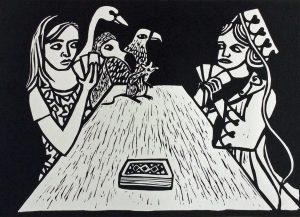 """""""Alice Winning Against Judgement"""" Linocut"""