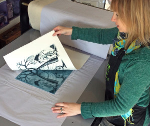 Shana printing a Drypoint