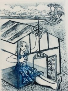 Glass House, drypoint intaglio $265 unframed