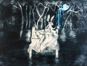 Poured like Dreams between Silence - Drypoint print by Shana James $720 unframed