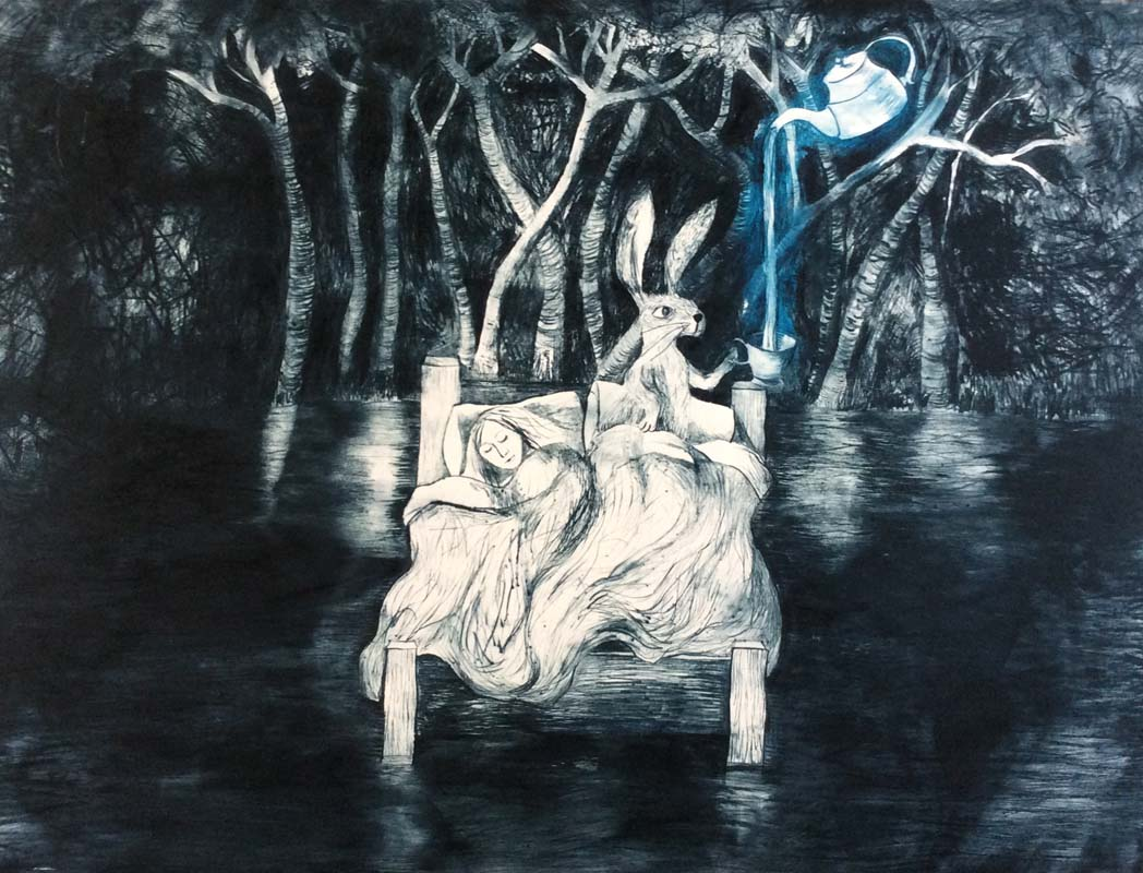 Poured like Dreams Between Silence Drypoint 55 x 76cm