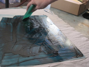 Inking up the drypoint plate