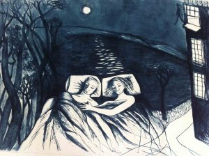 Stepping onto the Air, Drypoint Print by Shana James from the conversations with Ghosts Series 42cm x 30cm