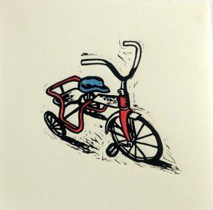 Hand Coloured Linocut Trike by Shana James 26cm x 26cm $210 unframed