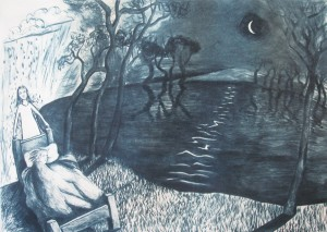Bound to Follow, Drypoint Print by Shana James from the conversations with Ghosts Series 42cm x 30cm