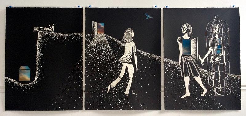 Night Vision Linocut Triptych by Shana James