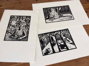 Three Linocuts by Shana James