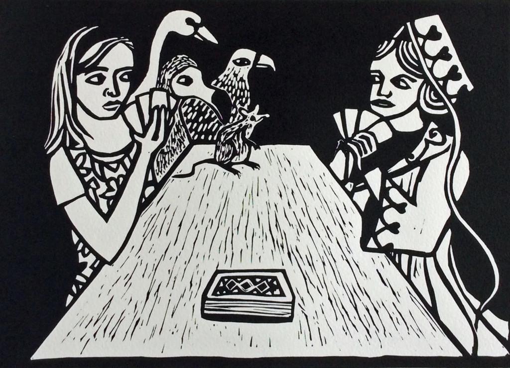 Linocut by Shana James, Alice Winning Against Judgement