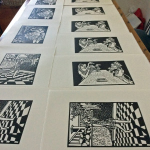 Printed Linocuts Drying on the KitchenTable