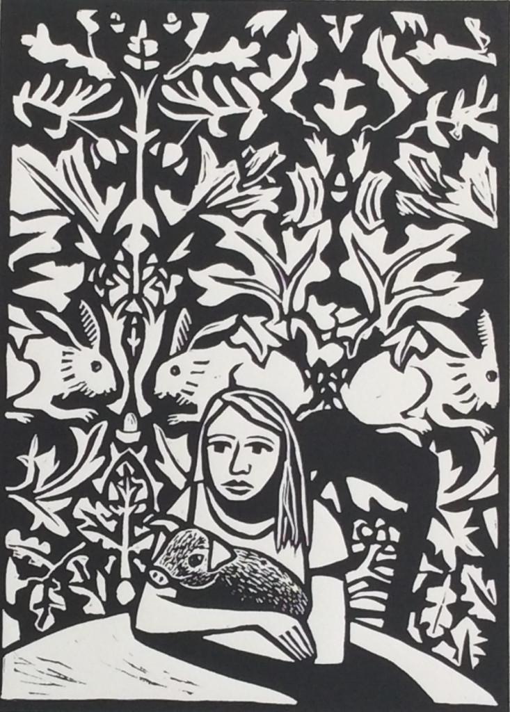 Linocut by Shana James ...Handsome Pig