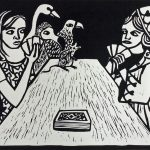 """Alice Winning Against Judgement"" Linocut"