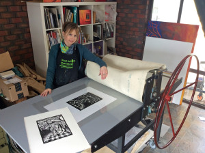 Shana with her Etching Press