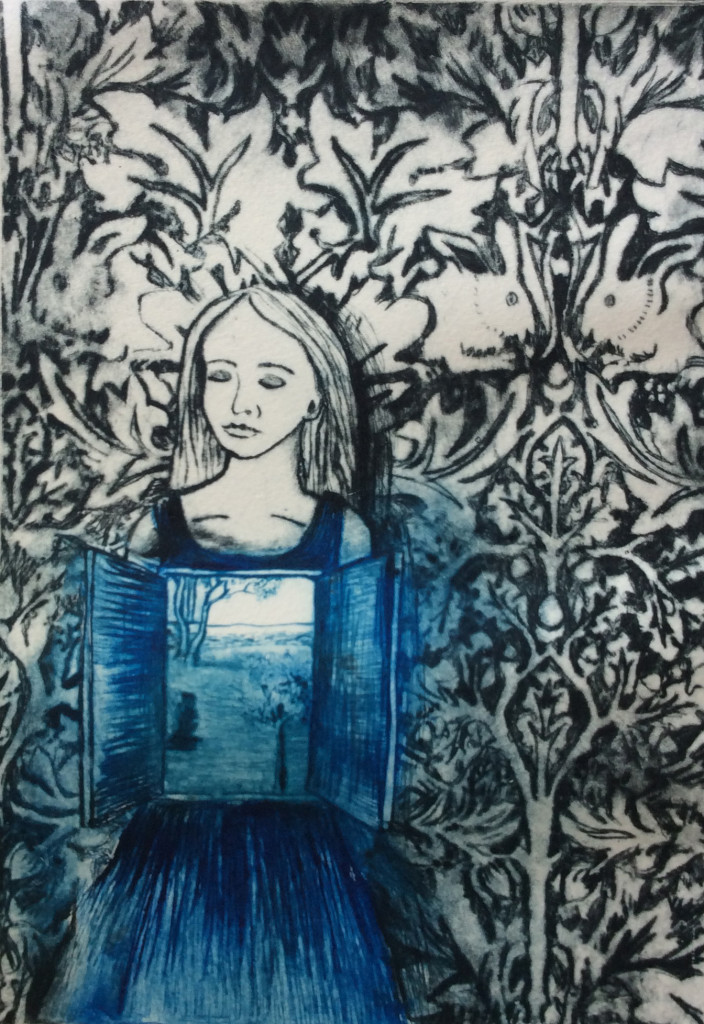 Internal External (with William Morris Wallpaper ) Intaglio Drypoint by Shana James