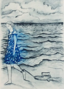 Walking with Rabbit Trap Drypoint 21 x30cm