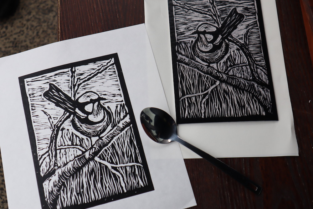 Terry's Linocut from the March 2021 Workshop